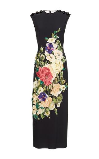 Medium dolce gabbana black floral bouquet applique dress