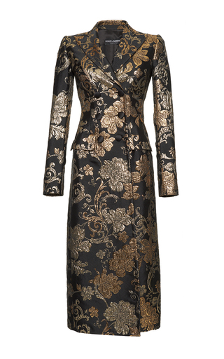 Medium dolce gabbana print metallic floral jacquard coat