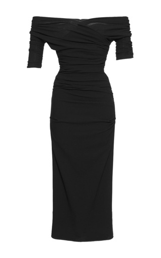 Medium dolce gabbana black ruched stretch wool off the shoulder dress
