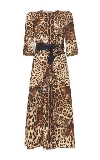 Medium dolce gabbana print bengal cat print belted dress