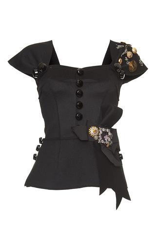 Medium dolce gabbana black embellished fitted peplum top