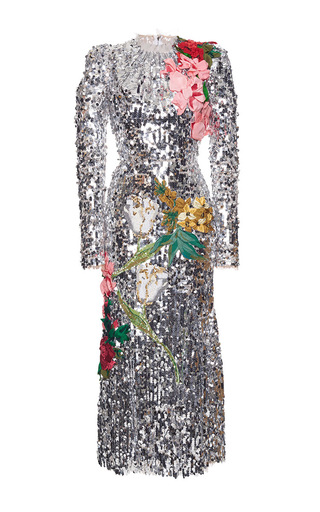Medium dolce gabbana metallic sequined long sleeve dress with organza flowers