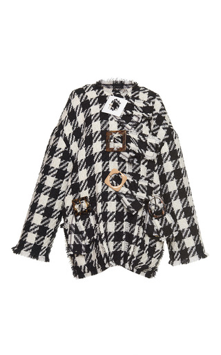 Medium dolce gabbana multi macro houndstooth tweed short coat