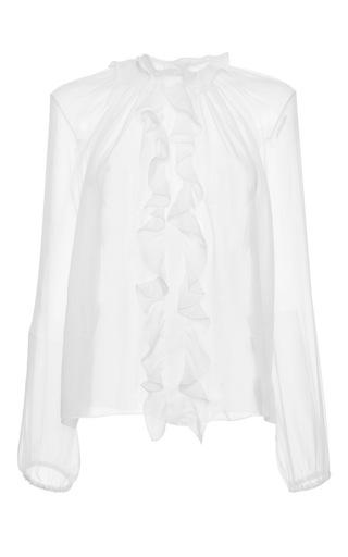 Medium dolce gabbana white ruffle front crepe de chine blouse