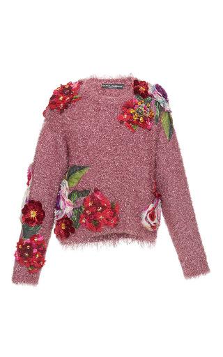Medium dolce gabbana pink eyelash lurex pullover with floral embellishment