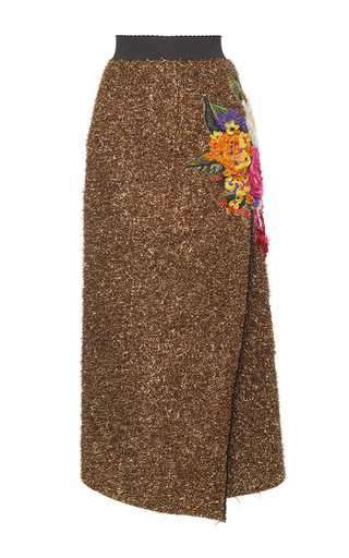 Medium dolce gabbana gold eyelash lurex wrap effect skirt