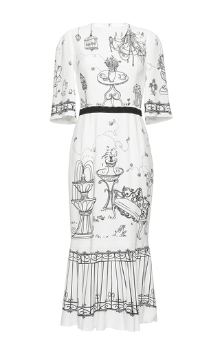 Medium dolce gabbana print garden print stretch cady dress