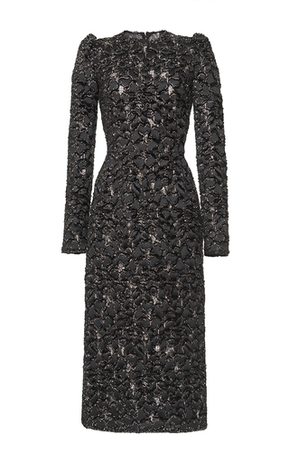 Medium dolce gabbana black 3d metallic jacquard dress