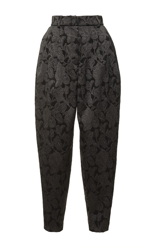 Medium dolce gabbana black high waist pleated brocade pant