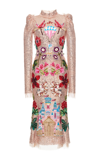 Medium dolce gabbana metallic sequined long sleeve dress with castle motif