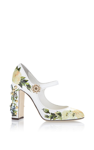 Medium dolce gabbana white floral mary jane pump