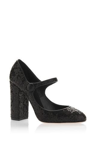 Medium dolce gabbana black sequin mary jane pump