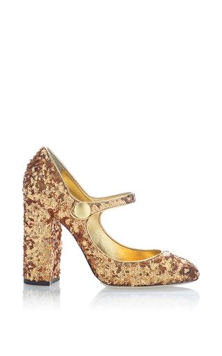 Medium dolce gabbana gold sequin mary jane pump  2