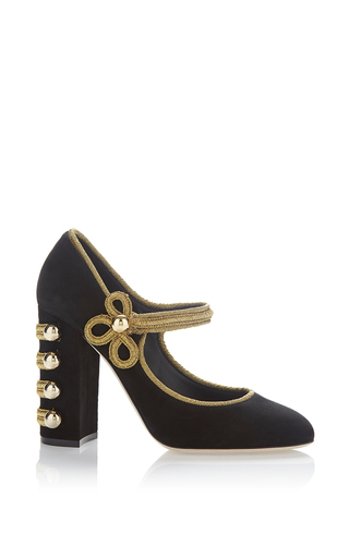 Medium dolce gabbana black suede military pump