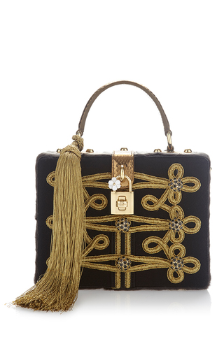 Medium dolce gabbana black tassel box bag