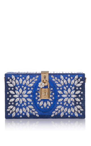Medium dolce gabbana blue crystal embellished clutch