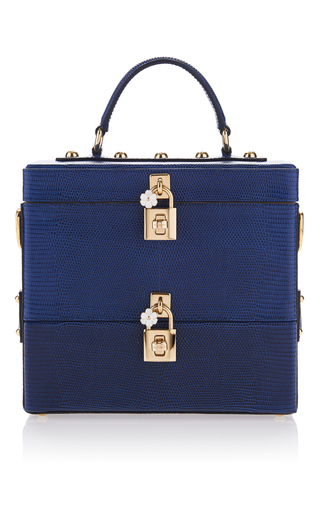 Medium dolce gabbana royal blue blue marino lizard skin double box bag