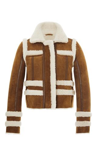 Medium carven tan short shearling jacket