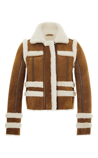 Medium carven tan short shearling jacket