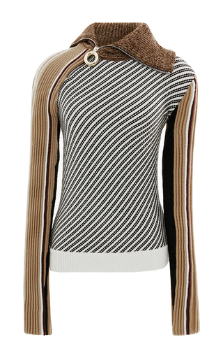 Medium carven stripe zip neck striped knit