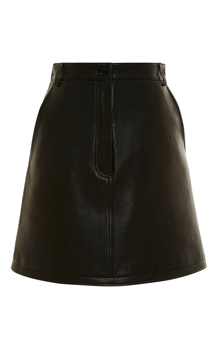 black leather a line skirt by carven moda operandi
