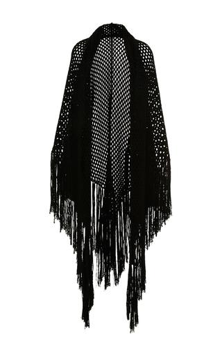 Medium carven black noir fringe knit shawl