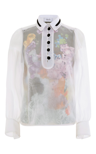 Medium carven print fantasy collared blouse