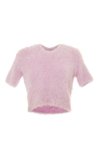 Medium carven light pink short sleeve textured sweater