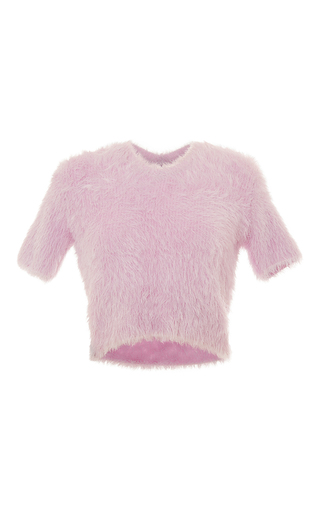 Medium carven light pink short sleeve textured sweater