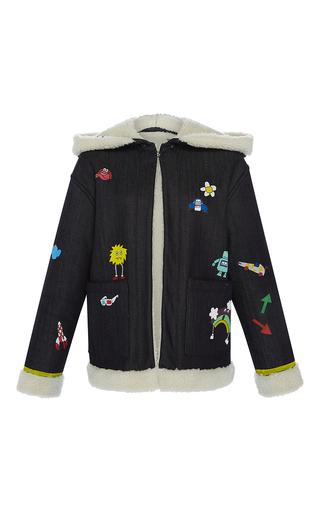 Medium mira mikati dark wash hand painted play more jacket