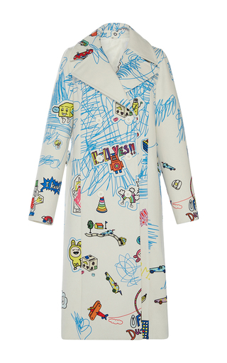 Medium mira mikati white scribble print coat