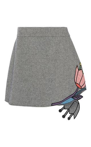 Medium mira mikati dark grey flower applique mini skirt