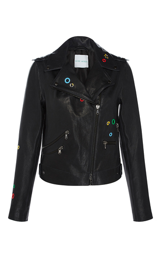Medium mira mikati dark grey dance all night leather jacket
