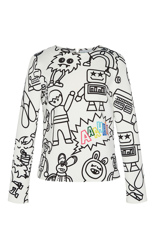 Medium mira mikati white robot print top
