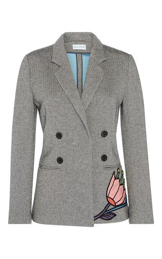 Medium mira mikati dark grey flower applique jacket