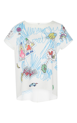 Medium mira mikati white scribble print top
