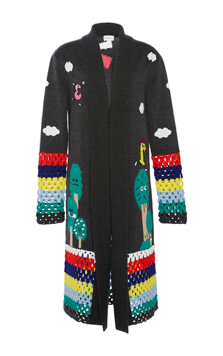 Medium mira mikati dark grey happy forest crochet cardigan
