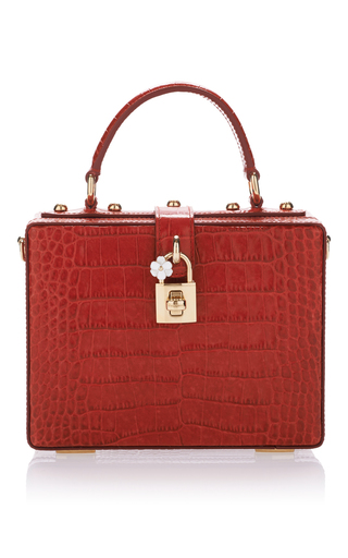 Medium dolce gabbana red croc skin box bag
