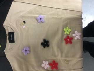 Medium simone rocha brown floral applique cardigan