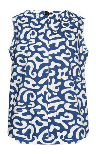 Medium marni blue sleeveless printed tank top