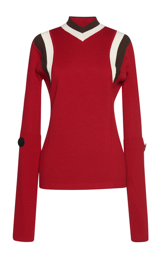 Medium marni red long sleeve v neck sweater