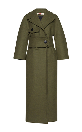 Medium marni green oversized belted coat