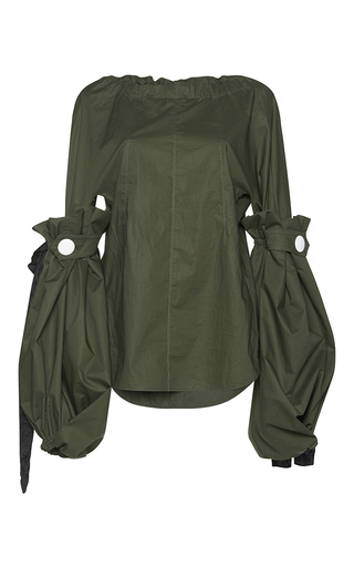 Medium marni green balloon sleeve blouse  4
