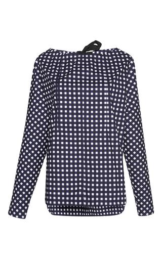 Medium marni navy checkered long sleeve blouse  2
