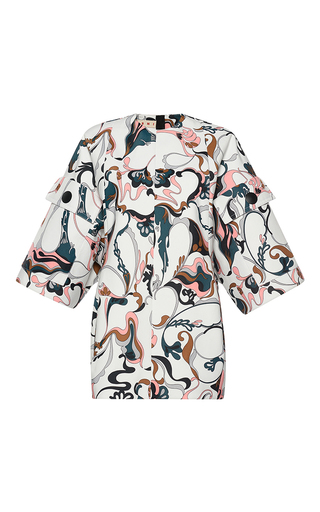 Medium marni multi printed patch pocket tunic
