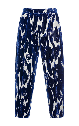Medium marni blue high waisted velvet trousers