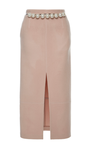 Medium huishan zhang light pink marion wool midi skirt
