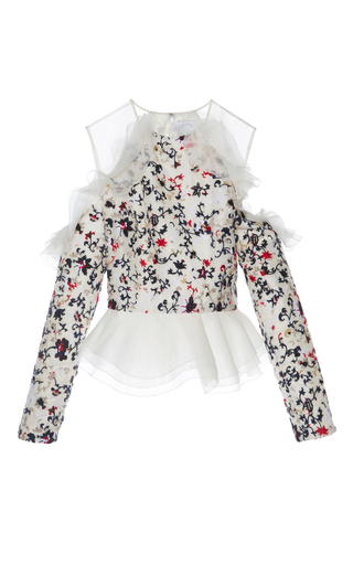 Medium huishan zhang floral phyllis floral ruffle blouse