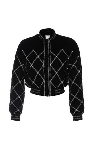 Medium huishan zhang black wilma pearl embroidery bomber jacket