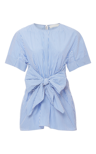 Medium kaelen stripe pleated front tie shirt